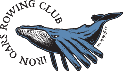 Iron Oars Rowing club Logo:: A large whale with oars for fins