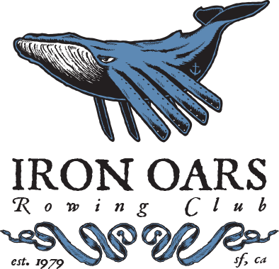 Iron Oars Rowing Club Logo: A large whale with oars for fins